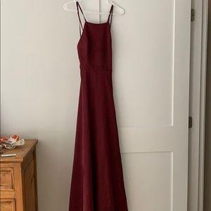 Lulus Burgundy Satin Backless Maxi Dress